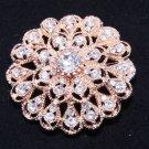 Rose Gold Champagne Tone Rhinestone Crystal Flower Wedding Cake Sash Brooch Pin