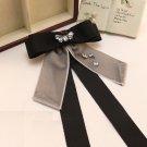 Black Grey Ribbon Crystal Men Women Bowtie Style Wedding Brooch Pin