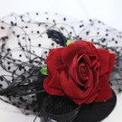 Red Rose Flower Black Birdcage Veil Fascinator Bridal Wedding Hair Clip