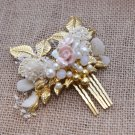 Gold Leaf Vintage Style Handmade Flowers Wedding Faux Pearl Hair Comb Jewelry