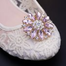 Clear Pink Rhinestone Crystal Silver Gold Flower Wedding Shoe Clips Pair
