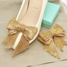 Gold Rhinestone Crystals Wedding Bow Shoe Decoration Clips Bridal Jewelry Pair