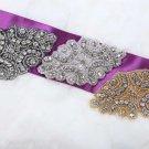 "3.5"" Vintage Black/Gold/Silver Rhinestone Crystal Wedding Dress Belt Applique"