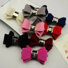 Winter Fashion Mini Velvet Ribbon Bow Boots High Heel Shoe Clips Pair Decoration