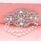 Pearl Dangle Bridal Rhinestone Comb Wedding Flower Hair Clip Crystal Headpiece