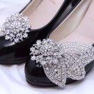 A Pair of Rhinestone Crystal Bow Leaf Wedding Shoe Clips