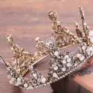 Bridal Old Gold Crystal Pearl Beads Wedding Princess Crown Hair Accessories