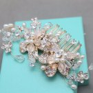 Bridal Gold Flower Beads Ivory Pearls Headpiece Wedding Hair Comb Accessories