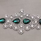 Bridal Wedding Beads Green Teardrop Rhinestone Crystal Iron Sew on Applique