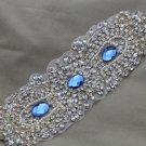 Blue Crystal Vintage Style Beaded Rhinestone Crystal Faux Pearl Wedding Applique