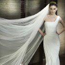 White / Cream 2.8m 2 Tiers Cathedral Long Tulle Organza Wedding Veil With Comb