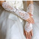 Ivory White Sequin Pearl Bridal Lace Wedding Fingerless Elbow Gloves
