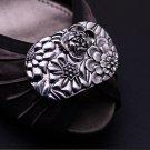 A Pair Vintage Flower Dark Gold Silver Wedding Bridal Shoe Clips Decoration