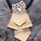 Wedding Party Men's Adjustable Bow Tie Pre-Tied Gold Rhinestone Crystal Necktie