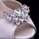Wedding Bridal Rhinestone Crystal Gold Silver Vintage Style Shoe Clips Pair