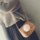 Pom Pom Velvet Fur Bag Female Women Autumn Winter Clutch Handbag Shoulder Bag