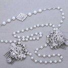 Wedding Hair Accessories Bridal Headpiece Pearl Crystal Rhinestone Head Chain