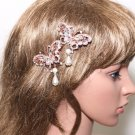 2pc Rose Gold Butterfly Rhinestone Crystal Dangle Pearl Wedding Bridal Hair Clip