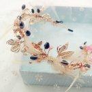 Wedding Bridal Vintage Blue Crystal Pearl Tiara Feather Gold Headpiece