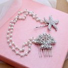 Wedding Starfish Shell Rhinestone Crystal Headpiece Hair Comb Clip Jewelry