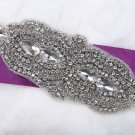 Bridal Wedding Belt Marquise Rhinestone Crystal Beaded Iron Sew on Applique