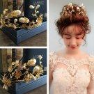Big Pearl Bridal Crystal Rhinestone Wedding Princess Tiara Gold Hair Accessories