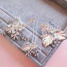 Bridal Silver Leaf Flower Rhinestone Crystal Wedding Hair Comb And Pin Stick