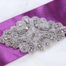 Lot of 2 Rhinestone Crystal Beaded Wedding Bridal Sash Vintage Craft Applique