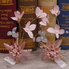 A Pair Wedding Bridal Pink Flower Pearl Hair Clip Starfish Headpiece Hair Piece