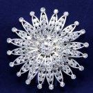 Bridal Flower Wedding Bride Silver Rhinestone Crystal Headpiece Hair Comb