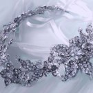 Bridal Silver Flower Rhinestone Crystal Dress Wedding Sash Belt Accessories