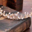 Wedding Bridal Vintage Beads Flower Crystal Tiara Pearl Headpiece Gold Crown