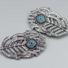 2 pcs Wedding Feather Rhinestone Blue Crystal Wedding Shoe Clips