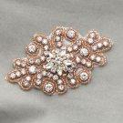 Rose Gold Star Beaded Rhinestone Crystal Beach Wedding Bridal Craft Applique