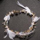 Wedding Bridal Vintage Gold Flower Feather Rhinestone Crystal Tiara Hair Piece