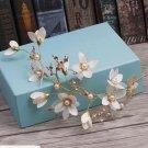 Vintage Gold Leaf Flower Ivory Pearl Tiara Hair Accessories Wedding Headpiece