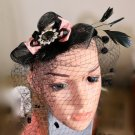 Black Veil Feather Headband Crystal Pink Bow Christmas Accessories