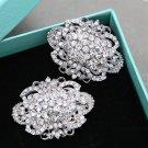 2 pcs x Bridal Vintage Style Rhinestone Oval Shoes Wedding Crystal Shoe Clips