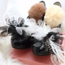 2 pcs Wedding Black and White Flower Feather Handmade Organza Wedding Shoe Clips