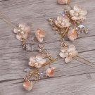 Wedding Crystal Starfish Star Peach Flower Tiara Headpiece And Hair Stick Pin