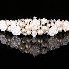 Bridal Rhinestone Crystal Pearl Beads Rose Wedding Crown Hair Accessories