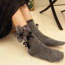Punk Style Grey Silver Flower Fashion Applique Ladies Women Winter Socks