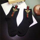 Korean Fashion Women Socks Retro Embroidery Bees Cotton Ladies Socks