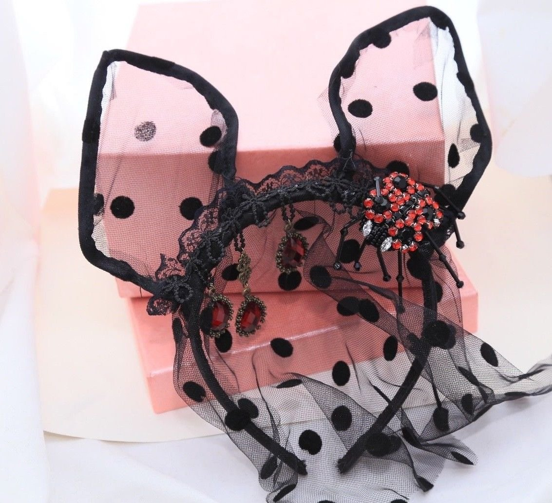 Black Face Mask Lace Veil Cat Headband Spider Red Drop Christmas Accessories
