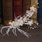 Bridal White Feather Gold Flower Pearl Tiara Wedding Headpiece Rose Hair Piece