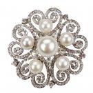 3 Pieces Wedding Bridal Rhinestone Crystal Faux Pearl Gold Or Silver Brooch Pin