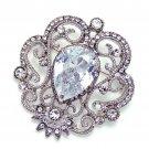 Vintage Clear Aurora Rhinestone Crystal Brooch Pin Jewelry Wedding Accessories