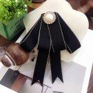 Black Ribbon British Tie Women Accessories  Bow Collar Fashion Brooch Pin