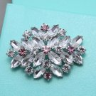 Purple Crystal Rhinestone Wedding Bridal Oval Brooch Pin Jewelry Accessories