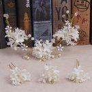 Bridal Flower Pearl Crystal Purple White Pink Wedding Headpiece Tiara Pin Set